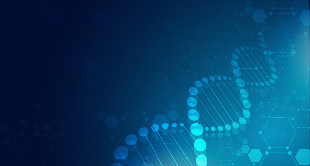 Dna digital sequence code structure with glow science concept and nano technology background