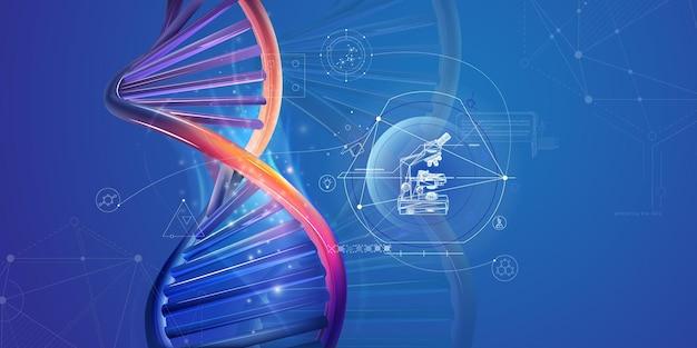 현미경으로 dna 이중 나선 및 인포 그래픽