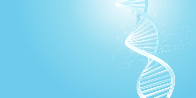 Dna double helix model on a light blue background
