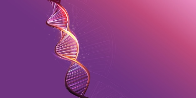 Dna double helix model on a purple background