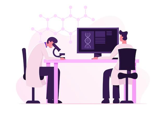 Dna 공학 및 유전학 과학 개념. 만화 평면 그림