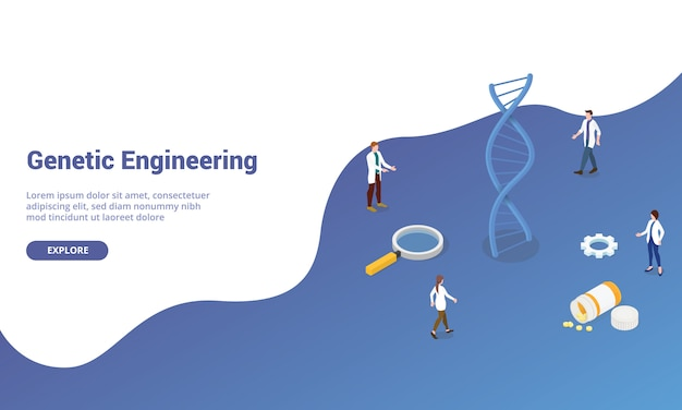 Dna genetic engineering with team doctor people for website template or landing homepage with isometric modern style
