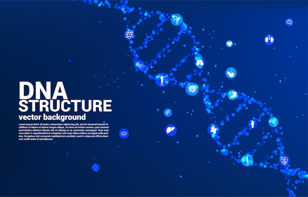 Dna genetic structure from dot random with icon. background concept for biotechnology and biology scientific.