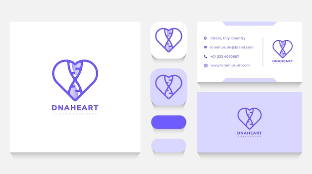 Dna and heart logo template and business card