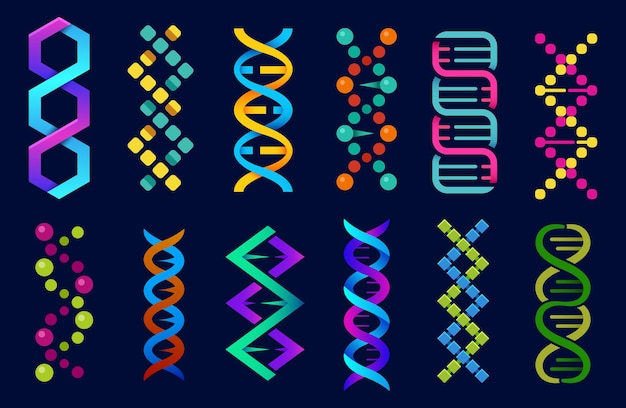 Dna helix abstract shape icons set