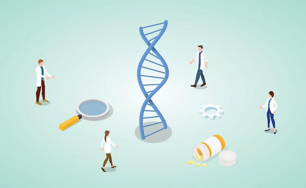 Dna helix analysis concept with team doctor research