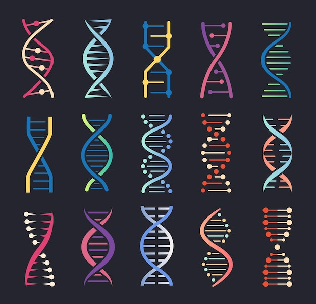 Dnaらせんアイコン遺伝子スパイラル分子構造人間の遺伝暗号染色体鎖ロゴセット
