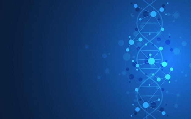 Dna helix and molecular structures science medicine and technology concept