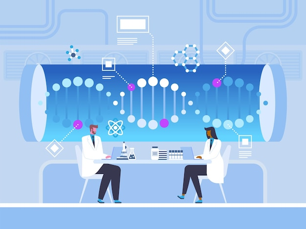 Dna helix study, research flat vector illustration. doctors, scientists working with laptops