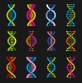 Dna helix symbols, genetic medicine signs. spiral molecule structure, science and scientific research, human gene code evolution.