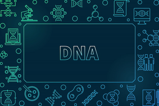 Dna horizontal colorful linear frame