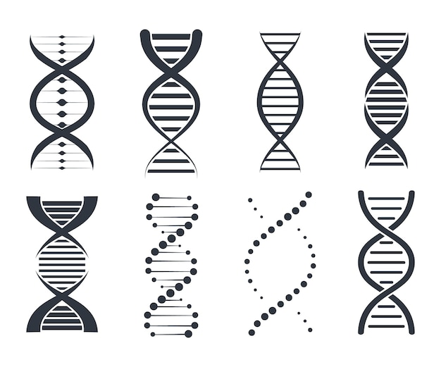 Dna icons set. genetic sign, elements and icons collection. pictogram of dna symbol isolated on white background