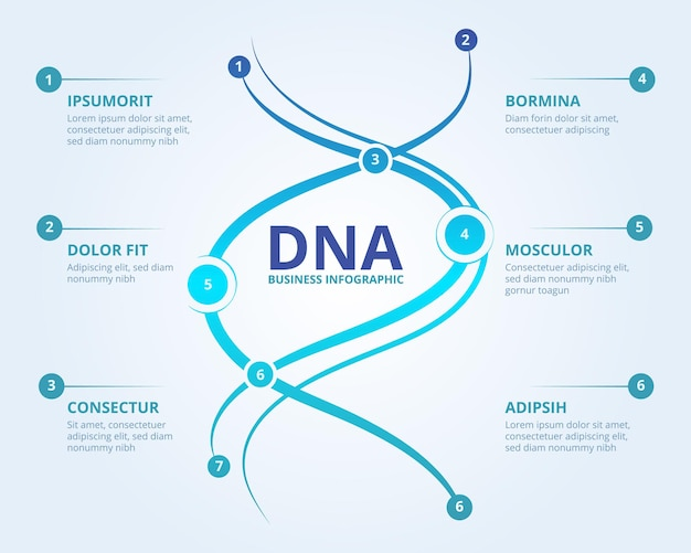 Dna infographics. spiral human biology structure  medical scientific concept with place for your text.