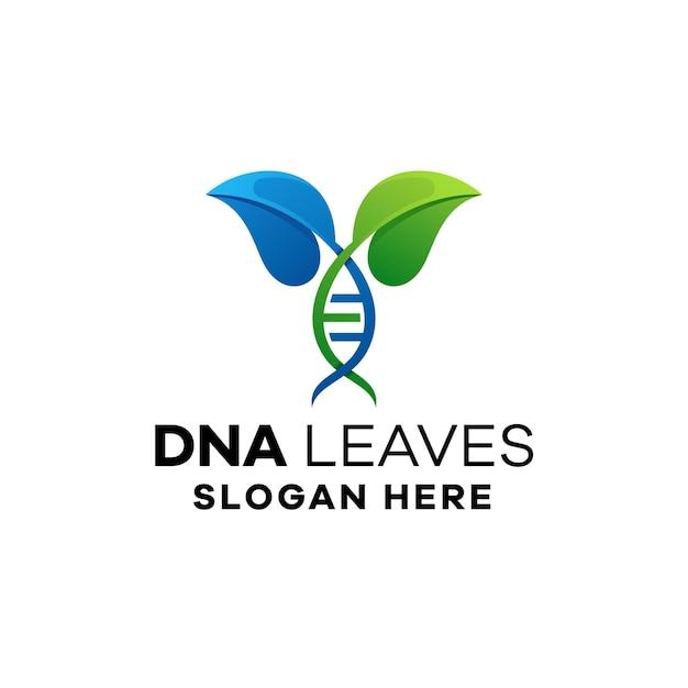 Dnaの葉のグラデーションロゴテンプレート