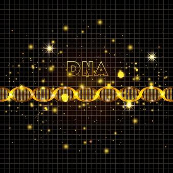 Dna molecule on line golden pattern