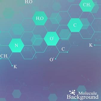Молекула днк на синем фоне. графический фон для вашего дизайна и текста. иллюстрация