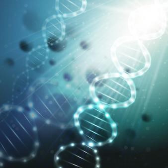 녹색 배경에 dna 분자 구조입니다. 과학 배경