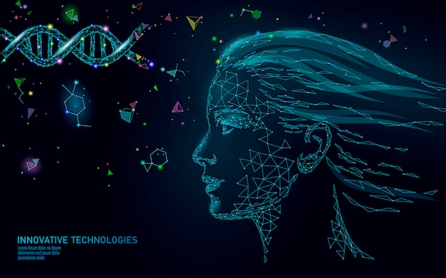 Dna分子治療コスメティックエッセンス3d。低ポリ女性顔多角形医療美容ケア。