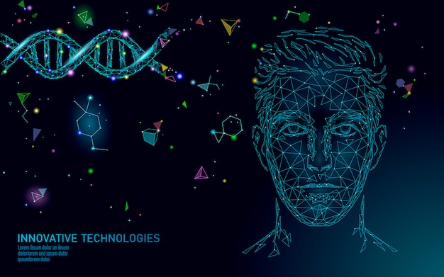 Dna molecule treatment polygonal science research 3d. low poly male face polygonal medical man health care. medicine gene helix structure gene illustration