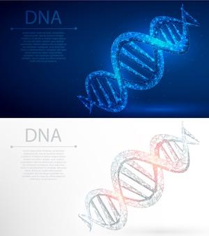 Днк полигональной генной инженерии абстрактный фон.