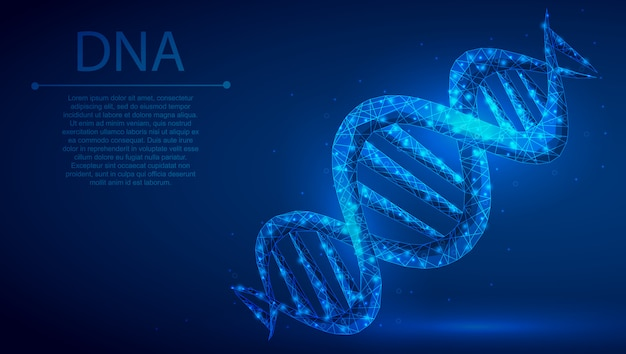 Dna polygonal mechanism abstract background.