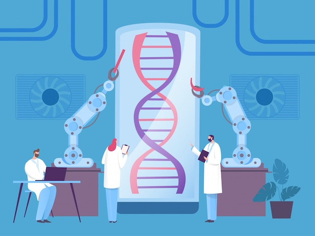 Dna research robot concept, modern biological experiment,  illustration. man and woman, scientist examine organism part.