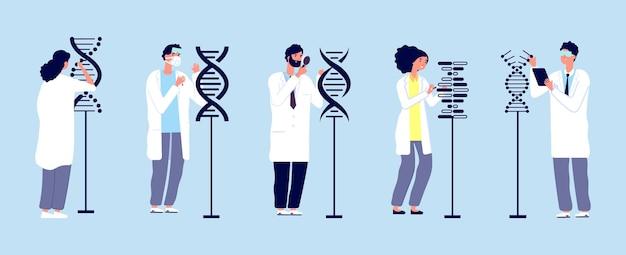 Dna研究。分子を研究している科学者。 Premiumベクター