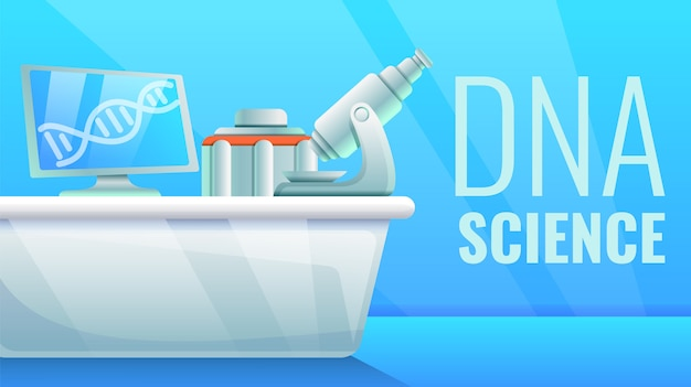 Dna science concept illustration, cartoon style