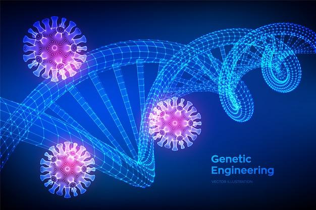 Dna配列とcovid-19感染ウイルス細胞。コロナウイルス2019-ncov。抽象的なコロナウイルス細菌。 dna分子構造メッシュ。