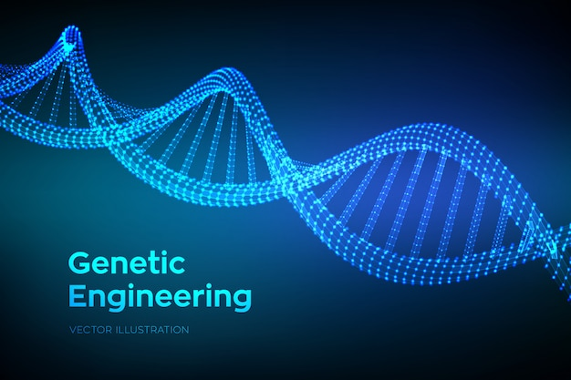 Dna sequence code. wireframe dna molecules structure mesh.