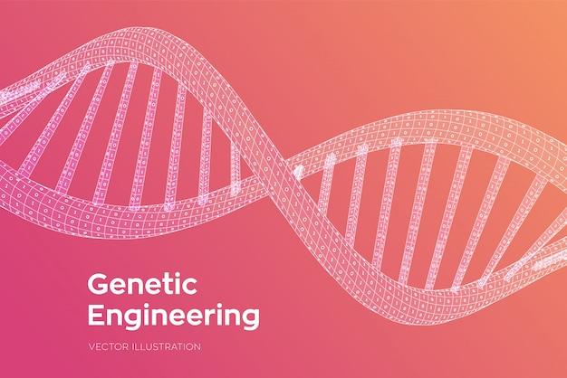 Последовательность днк. концепция двоичного кода человеческого генома. каркасная цифровая структура молекулы днк.