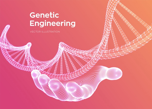 Dna sequence in hand. wireframe dna code molecules structure mesh.
