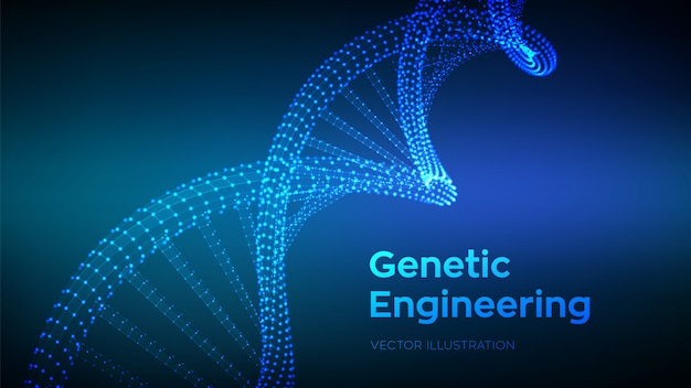 Dna sequence. wireframe dna code molecules structure mesh background