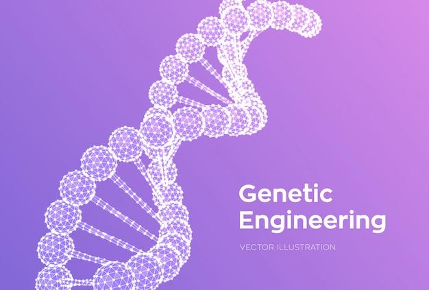 Dna 서열. 와이어 프레임 dna 코드 분자 구조 메시. 과학 및 기술 개념.