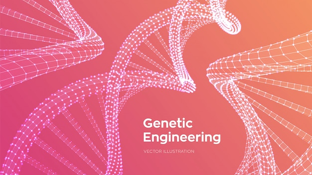 Dna sequence. wireframe dna code molecules structure mesh.
