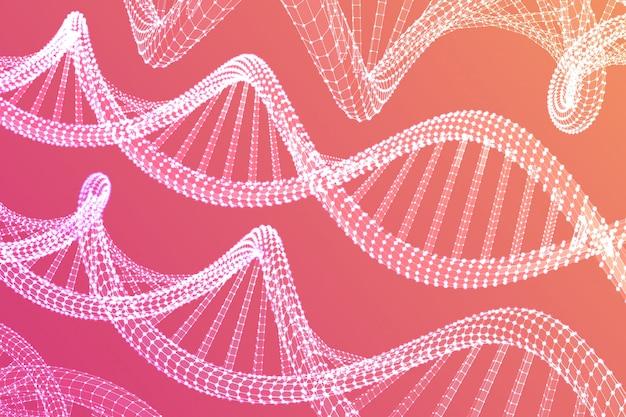 Dna配列。ワイヤーフレームdnaコード分子構造メッシュ。