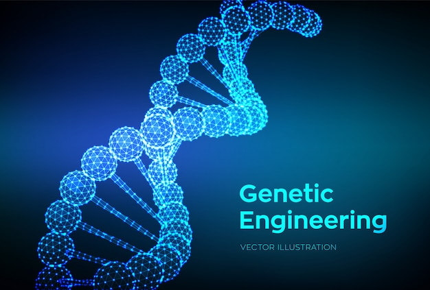 Dna sequence. wireframe dna molecules structure mesh.