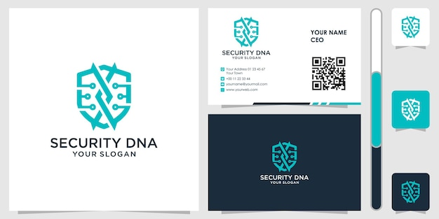 Dna shield logo with business card design vector premium