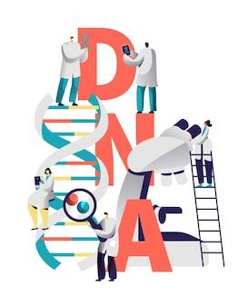 Dnaスパイラル医療機器タイポグラフィバナー。