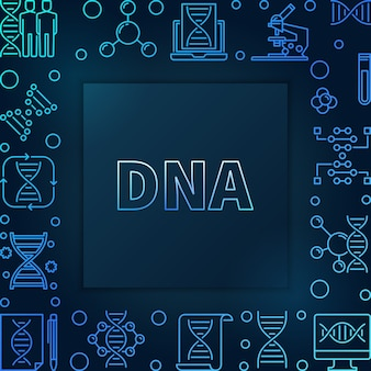 Dna square blue linear frame
