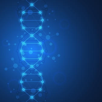 Dna strand background and genetic engineering. medical technology and science concept.