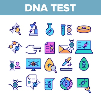 Dna test collection elements icons set