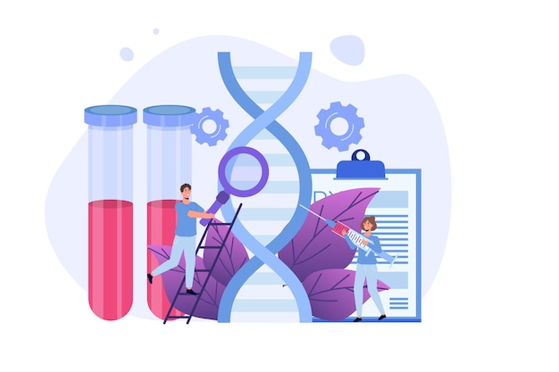 Днк-тест, генетическое тестирование, концепция лабораторных исследований. векторная иллюстрация плоский