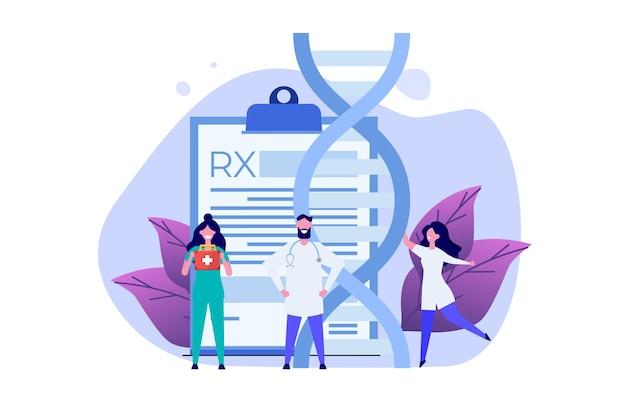Dna 테스트, 유전자 테스트, 실험실 연구 개념. 벡터 평면 그림