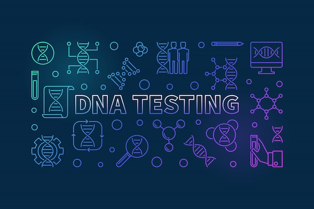 Dna testing colorful outline banner or illustration