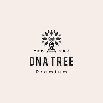 Днк дерево битник старинный логотип значок иллюстрации