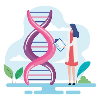 Dna and woman doctor