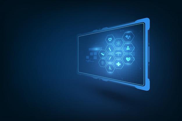 ヘルスケア技術、抽象的な未来的なdnaの中で現実的な透明な丸薬のグラフィックの概念