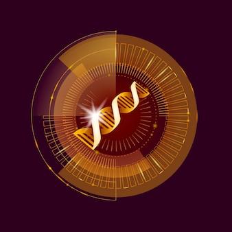 Dnaバイナリコードゴールド未来コンピューター技術コンセプト、化粧品