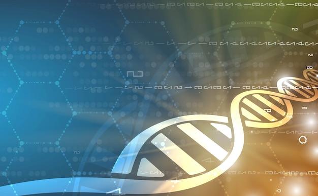 Dnaと医療技術の背景。未来的な分子構造提示